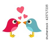 blue and pink birds with hearts ... | Shutterstock .eps vector #625717235