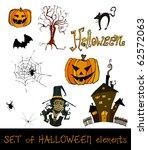 set of cute halloween elements | Shutterstock . vector #62572063