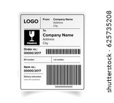 shipping label barcode template ... | Shutterstock .eps vector #625735208