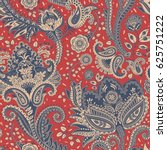 paisley floral seamless pattern.... | Shutterstock .eps vector #625751222