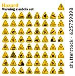 warning hazard triangle signs... | Shutterstock .eps vector #625759898