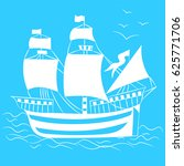 white hand drawn old ship with...   Shutterstock .eps vector #625771706