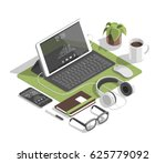 flat isometric 3d workspace... | Shutterstock .eps vector #625779092