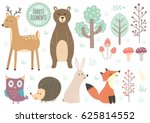 Stock vector vector set of cute forest elements animals and trees great for baby shower and kids design deer 625814552