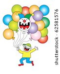 boy with balloons and a clown ... | Shutterstock .eps vector #62581576