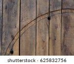 Small photo of Indent on aged wood planks background, Wooden texture