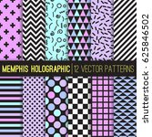 memphis style holographic... | Shutterstock .eps vector #625846502