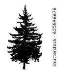 silhouette of pine tree. hand... | Shutterstock . vector #625846676
