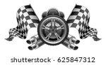 racing elements flags exhaust... | Shutterstock .eps vector #625847312