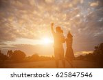 silhouette of a happy family...   Shutterstock . vector #625847546