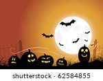 halloween scene with bats... | Shutterstock .eps vector #62584855
