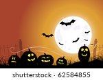 halloween scene with bats...   Shutterstock .eps vector #62584855