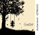 vector silhouette of girl on... | Shutterstock .eps vector #62586142