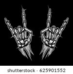 engraving rock horn sign vector ... | Shutterstock .eps vector #625901552