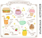 set of cute breakfast and... | Shutterstock .eps vector #625924028