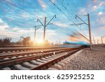 high speed blue passenger train ... | Shutterstock . vector #625925252