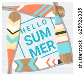 hello summer background with... | Shutterstock .eps vector #625926335