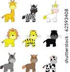animals cartoon set in vector... | Shutterstock .eps vector #62593408