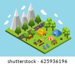 isometric summer camping