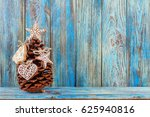 pine cone decorated with... | Shutterstock . vector #625940816