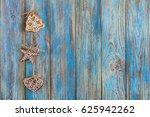 gingerbread on blue wooden... | Shutterstock . vector #625942262