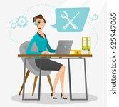 caucasian professional operator ...   Shutterstock .eps vector #625947065