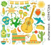 vector mexico icon set. mexican ... | Shutterstock .eps vector #625947266