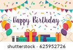 colorful letter happy birthday... | Shutterstock .eps vector #625952726
