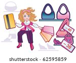 a fashionable girl hurries on... | Shutterstock .eps vector #62595859