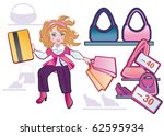 a fashionable girl hurries on... | Shutterstock . vector #62595934