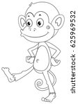 animal outline for happy monkey ...