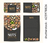 set of vector cards with nuts... | Shutterstock .eps vector #625978826