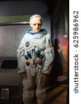 Small photo of HOT SPRINGS, AKANSAS, US - OCT 16, 2016:A waxwork of Neil Alden Armstrong display at Josephine Tussaud Wax Museum. He was American astronaut and aerospace engineer, first person to walk on the Moon.