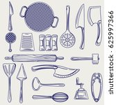 hand drawn cutlery collection.... | Shutterstock .eps vector #625997366