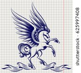 ballpoint pen sketch of pegasus ... | Shutterstock .eps vector #625997408
