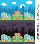 city with cartoon houses and... | Shutterstock . vector #625999712