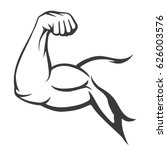 bodybuilder muscle flex arm... | Shutterstock .eps vector #626003576