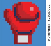 red pixelated boxing glove with ... | Shutterstock .eps vector #626007722