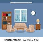 living room sofa bookcase table ... | Shutterstock .eps vector #626019542