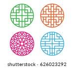 set of modern round korean... | Shutterstock .eps vector #626023292