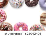 close up donuts on white... | Shutterstock . vector #626042405