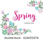 spring sale banner with...   Shutterstock .eps vector #626053376
