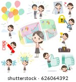 set of various poses of pink... | Shutterstock .eps vector #626064392