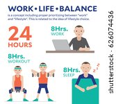 work life balance infographic... | Shutterstock .eps vector #626074436