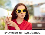funny girl with yellow...   Shutterstock . vector #626083802