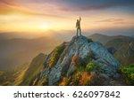 tourist on the peak of high... | Shutterstock . vector #626097842