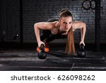 young beautiful sporty woman in ... | Shutterstock . vector #626098262