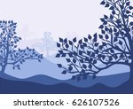 birch trees silhouettes on...   Shutterstock .eps vector #626107526