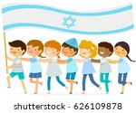 kids walk in a line with a big... | Shutterstock .eps vector #626109878