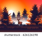 deer and moon and grass in pine ... | Shutterstock .eps vector #626126198
